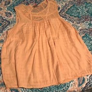 Lucky brand peach knit crochet lined tank size XL